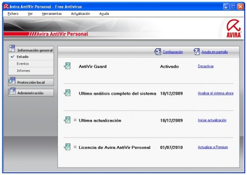 Avira Antivirus gratis en español