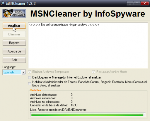 Eliminar virus MSN con MSN Cleaner