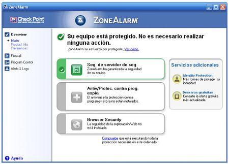 cortafuegos firewall zone alarm