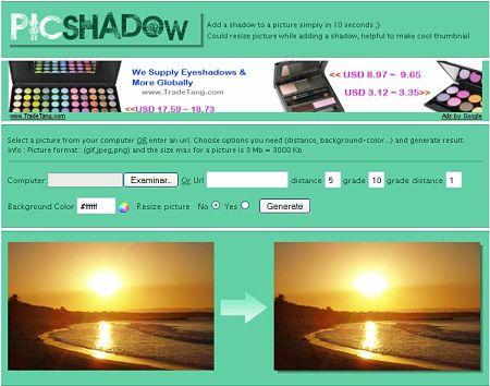 añadir sombra a fotos picshadow