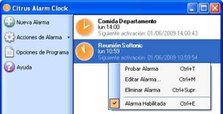 alarma despertador pc
