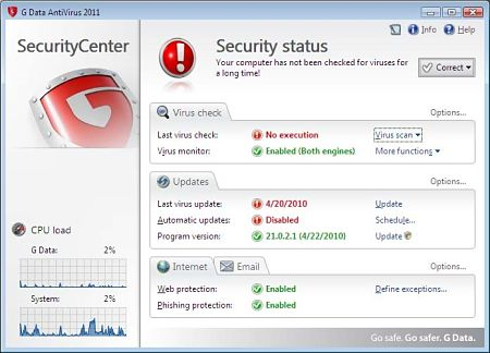 G DATA Antivirus virus troyanos rootkits