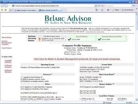 Belarc Advisor informacion pc ordenador