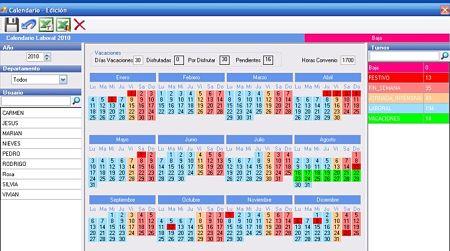gestionar horarios trabajadores calendario empresa vacacional Lite