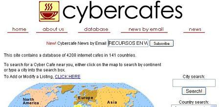 Cybercafes.com buscador cibercafes internet
