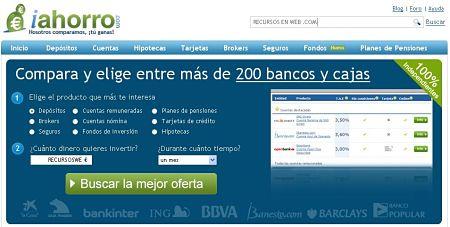 iAhorro depositos cuentas hipotecas tarjetas brokers seguros fondos pensiones