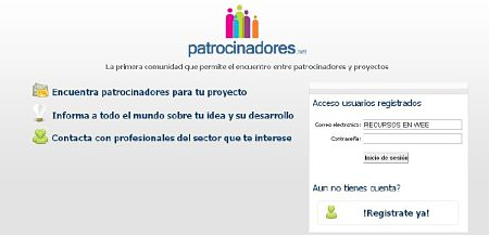 patrocinadores.net buscar financiacion para negocio