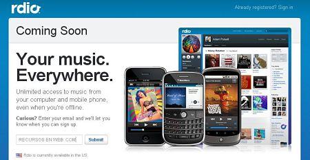 Rdio escuchar musica online gratis