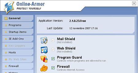Online Armor Free cortafuegos malware