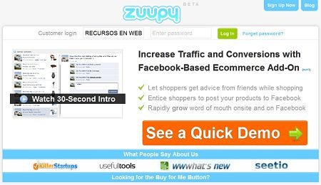 Zuupy recomendar compras en facebook