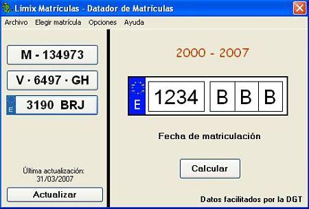 Limix Matrículas fecha matriculacion vehiculo
