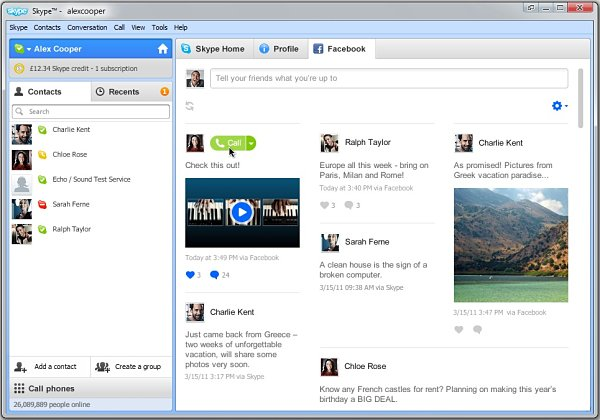 Skype actualiza la ficha de Facebook en su servicio para usuarios Windows