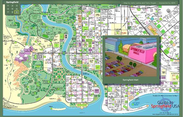 Mapa de Springfield. Los Simpons