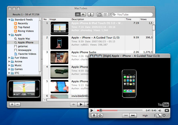 MacTubes, descarga vídeos de YouTube Mac OSX