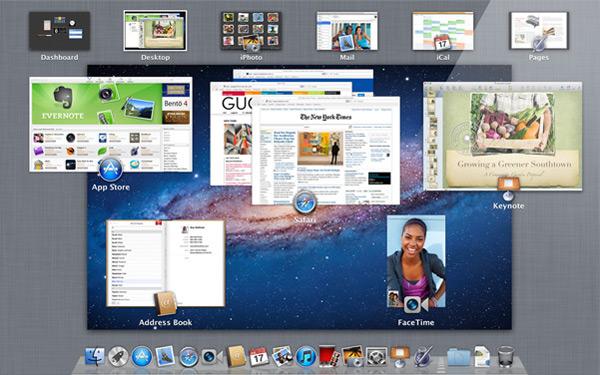 Vista de Mission Control del Apple Mac OS X