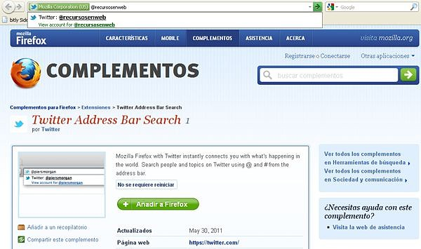 Twitter Address Bar Search