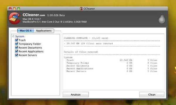 Ccleaner para Mac OS X