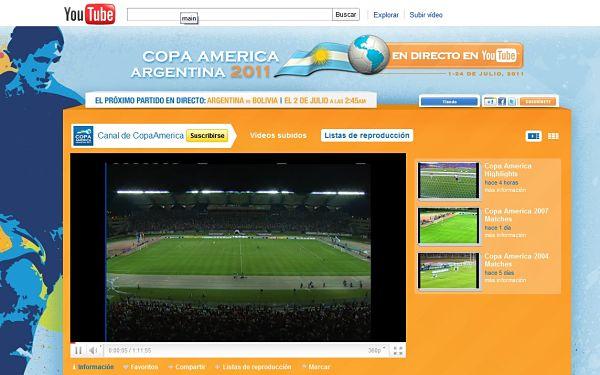 Sigue en vivo la Copa América Argentina 2011 desde YouTube