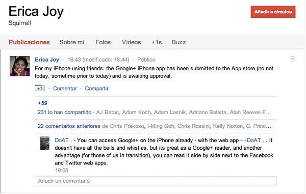 La aplicación de Google+ para iOS espera aprobación