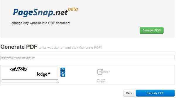 PageSnap convertir web pdf