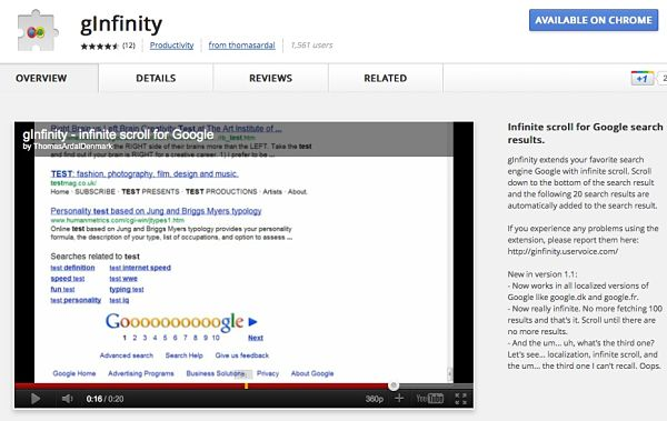 gInfinity google chrome