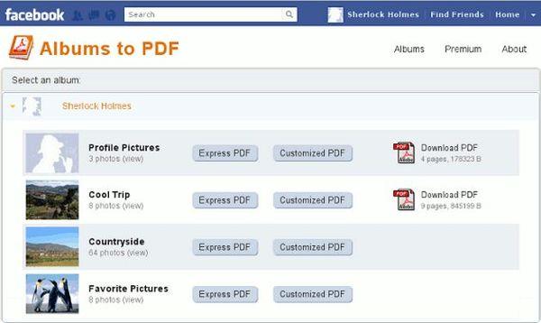 Facebook Albums to PDF