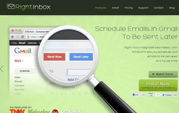 RightInbox programar email