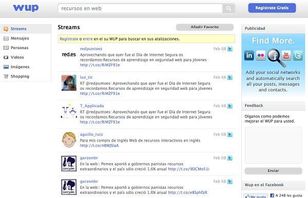 Wup buscador redes sociales