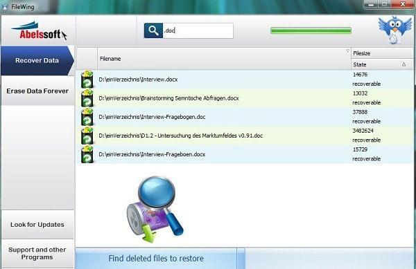 FileWing recuperar archivos borrados
