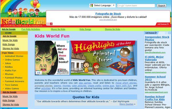 Kids World Fun juegos contenidos didacticos niños