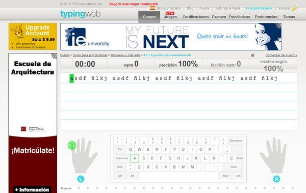 Online Typing Tutor mecanografia