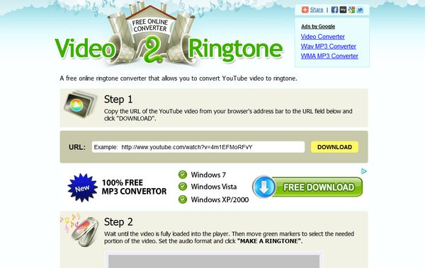 Video2Ringtone youtube