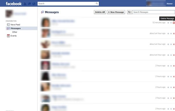 Facebook Fast Delete Messages