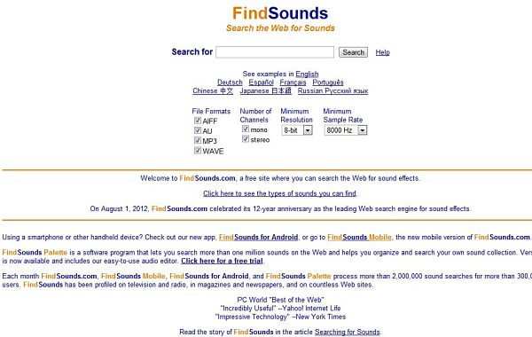 FindSounds sonidos gratis