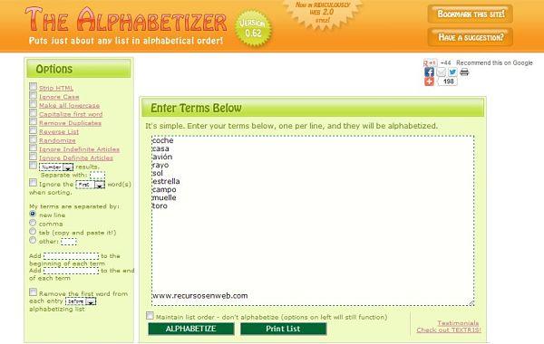 The Alphabetizer listas orden alfabetico