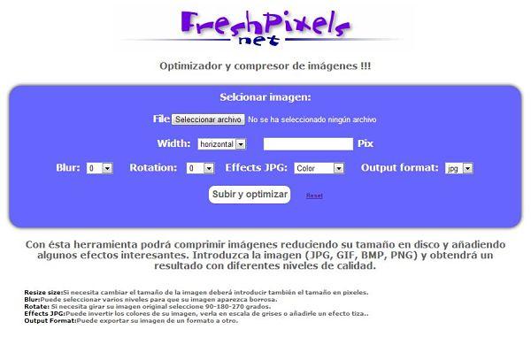 FreshPixels optimizar comprimir imagenes