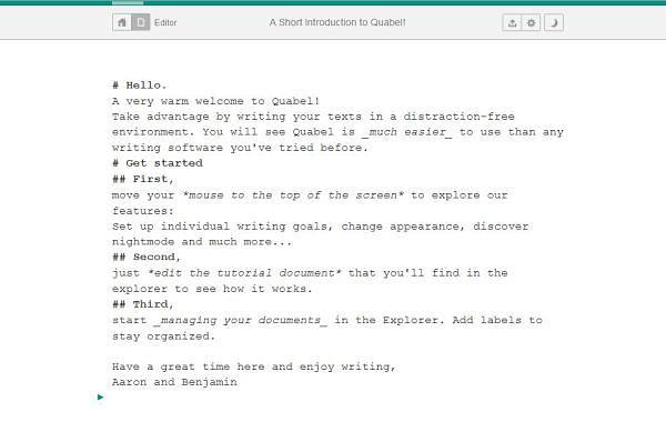 Quabel editor texto online