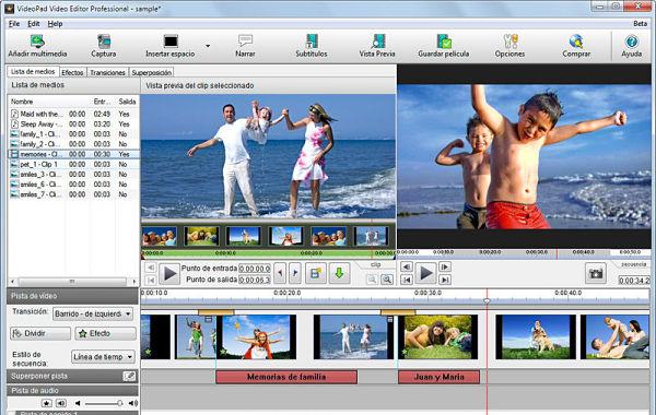 VideoPad editor videos