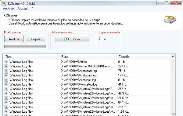 KCleaner eliminar archivos ordenador