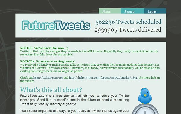 FutureTweets programar tuits