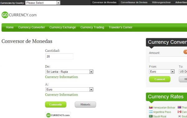 GoCurrency conversor monedas