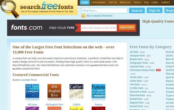 SearchFreeFonts fuentes texto