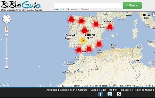 BiblioGuia bibliotecas google mapas
