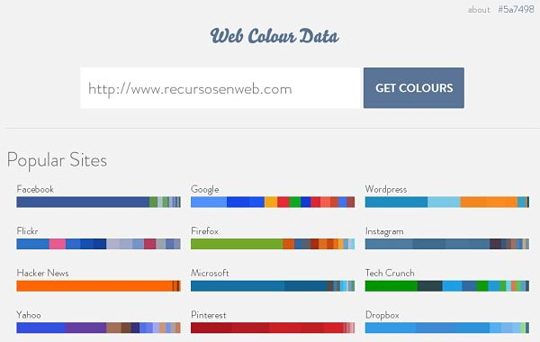 Web Colour Data colores web