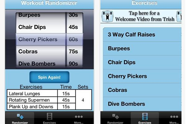 Workout Randomizer entrenar deporte iphone