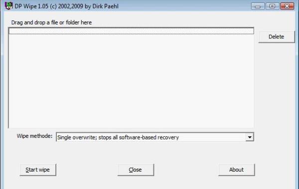 DPWipe borrar eliminar archivos