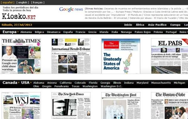 Kiosko portadas prensa periodicos paises