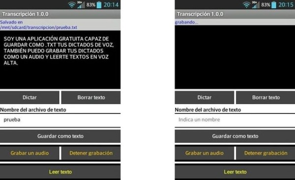 Transcripcion app dictados voz Android