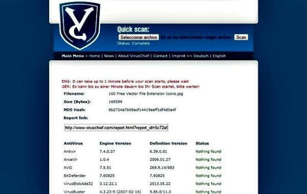 VirusChief archivos sospechosos virus online