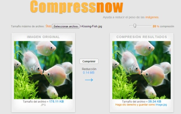Compress Now optimizar imagenes